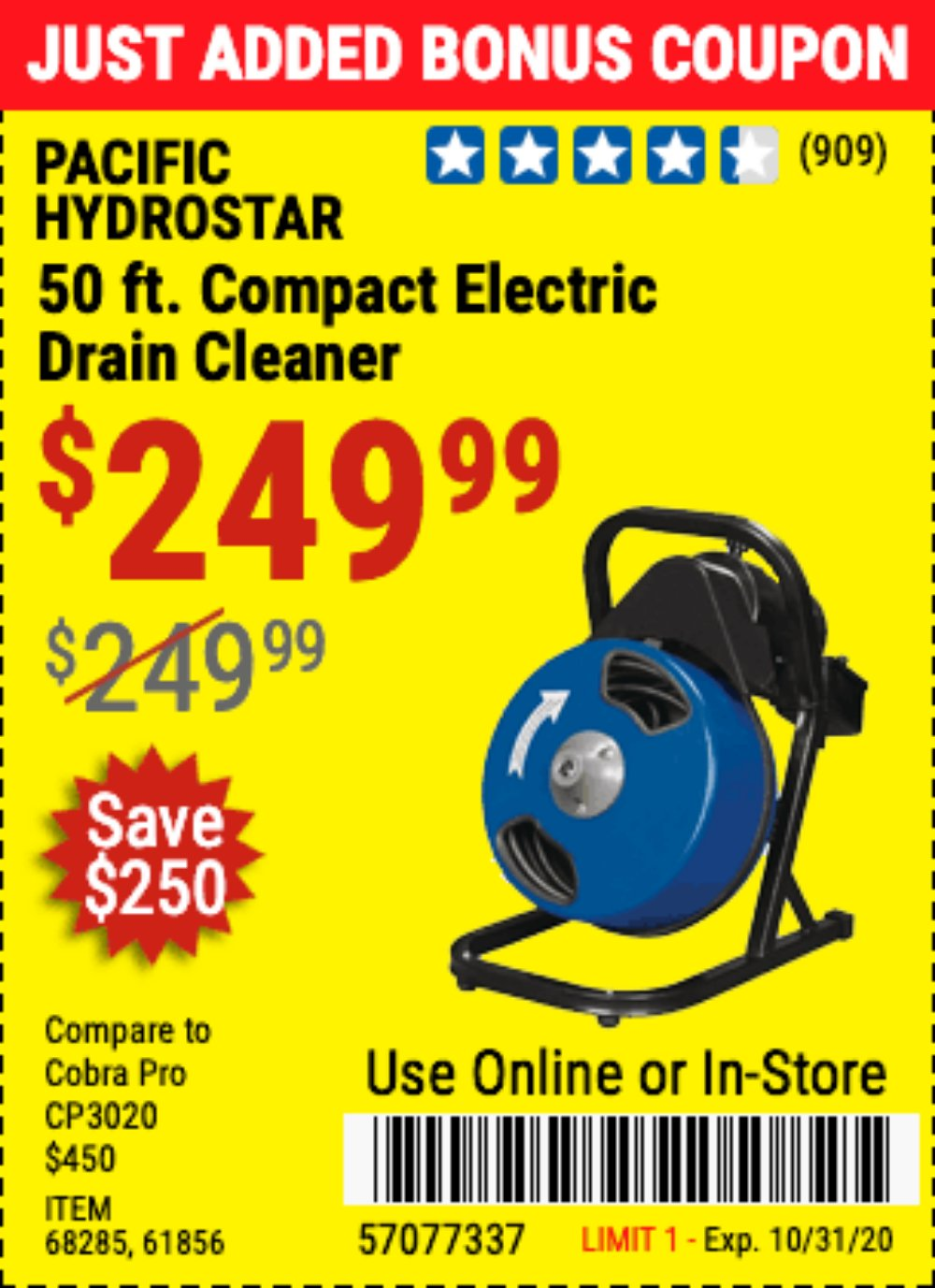 Harbor Freight Coupon, HF Coupons - 50 Ft. Electric Drain Cleaner