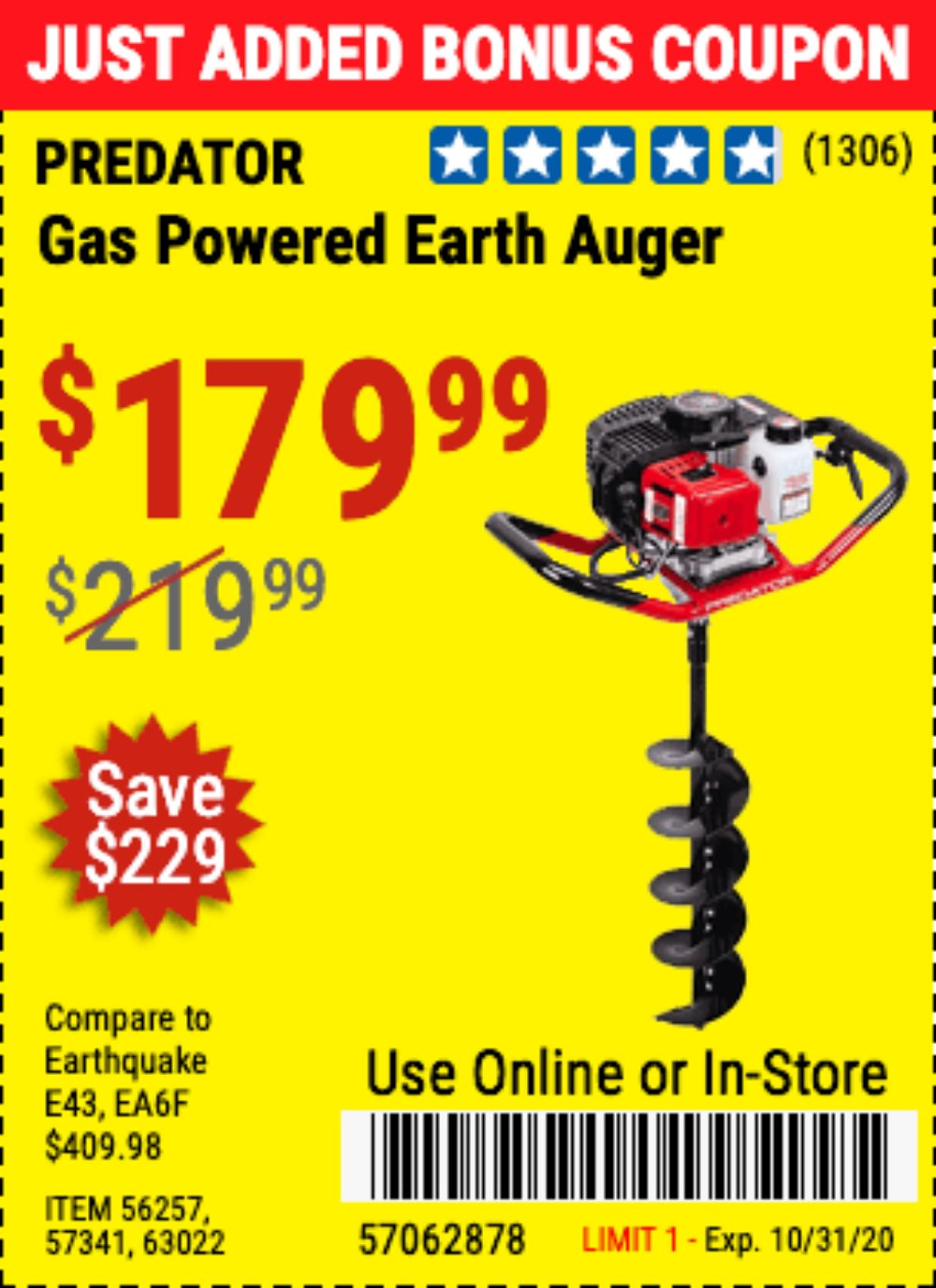 Harbor Freight Coupon, HF Coupons - 2 Hp Gas Powered Earth Auger With 6