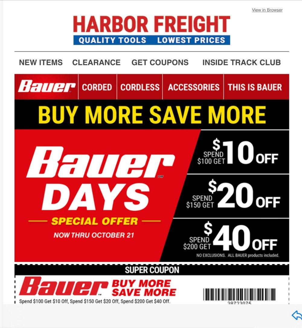 Harbor Freight Coupon, HF Coupons - Bauer Days