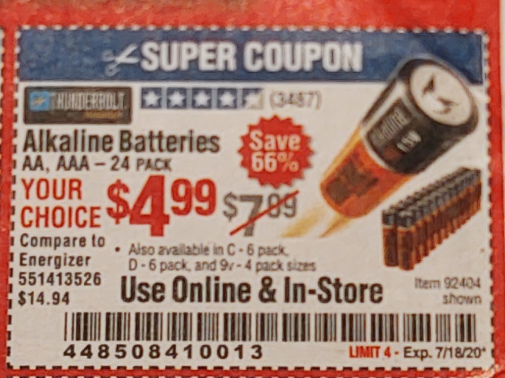 Harbor Freight Coupon, HF Coupons - Thunderbolt Magnum Alkaline Batteries Aa, Aaa - 24 Pk