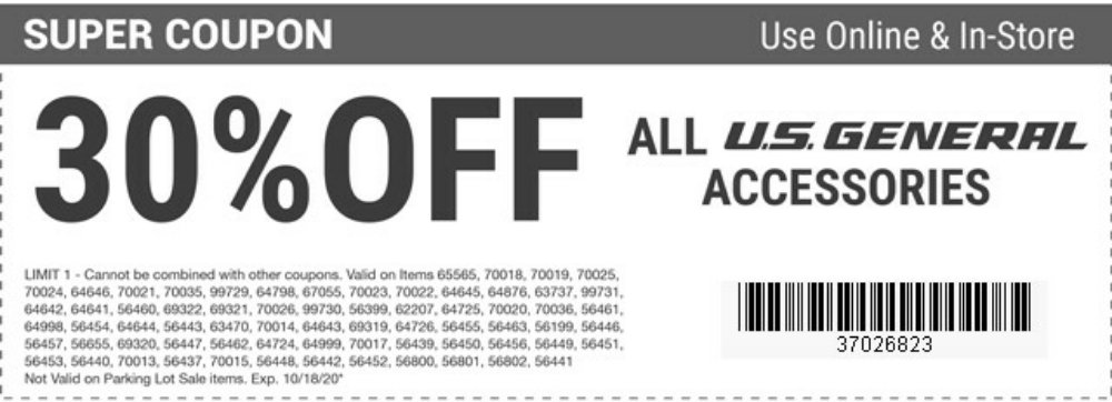 Harbor Freight Coupon, HF Coupons - 30% off ALL US General Accessories