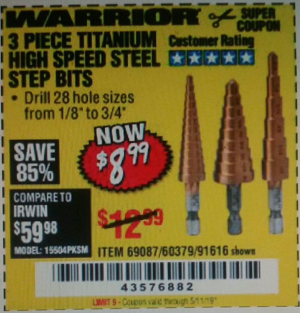Harbor Freight Coupon, HF Coupons - 3 Piece Titanium Nitride Coated High Speed Steel Step Drills