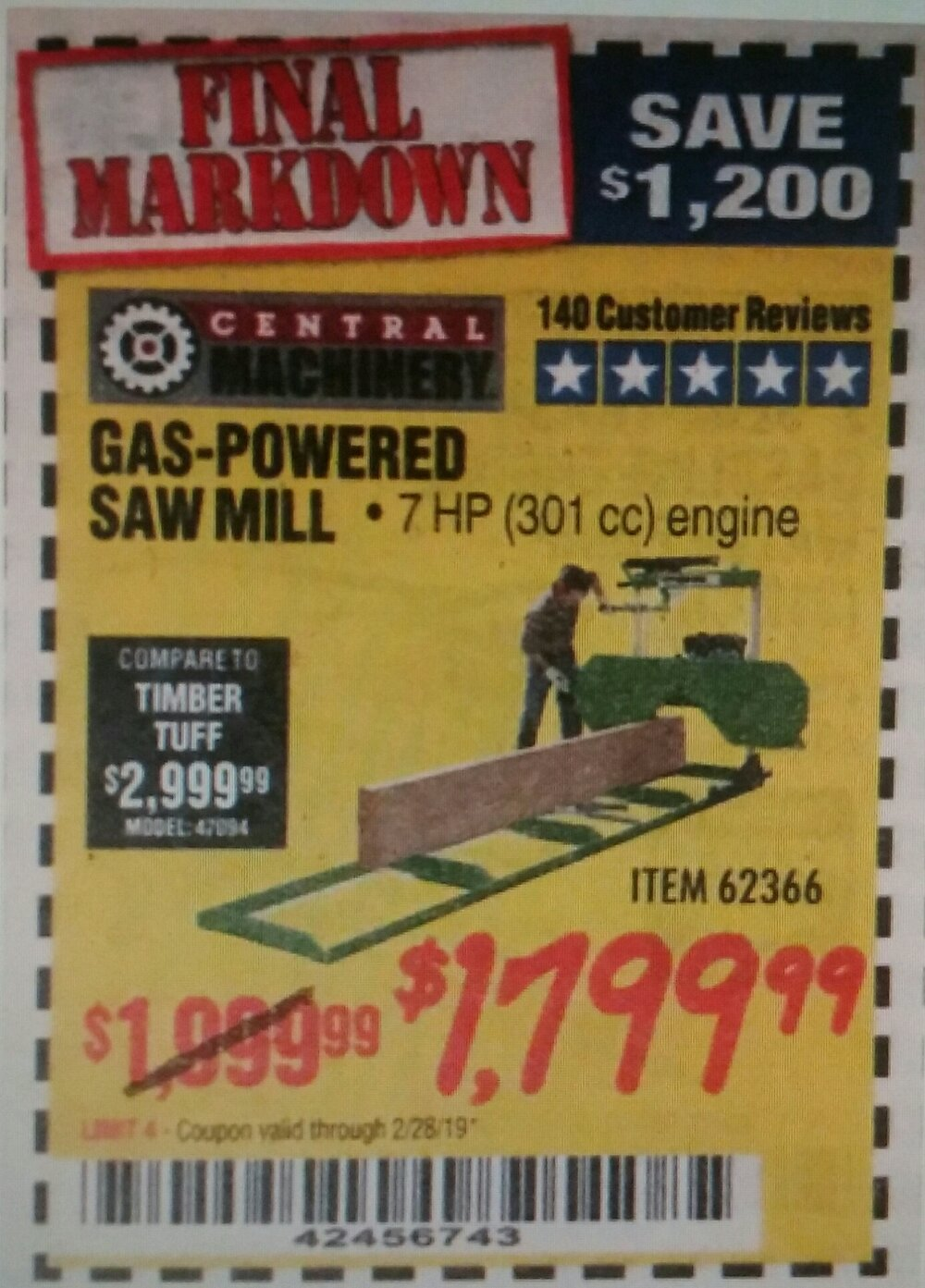 Harbor Freight Coupon, HF Coupons - Gas-powered Saw Mill