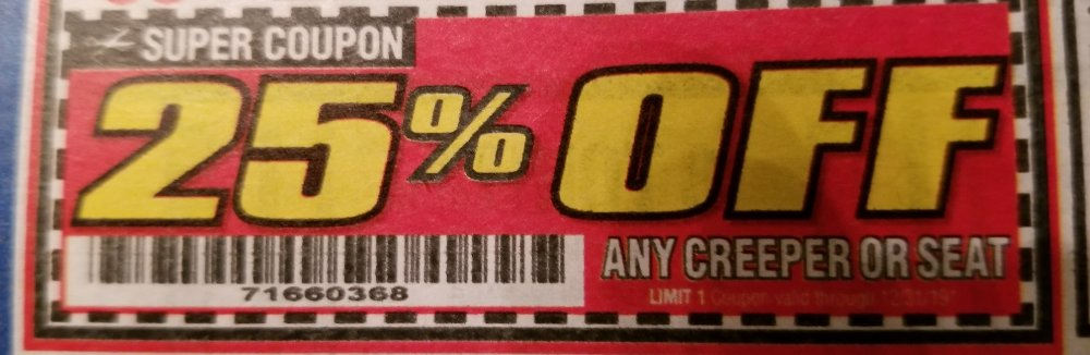 Harbor Freight Coupon, HF Coupons - 25% off any creeper or seat