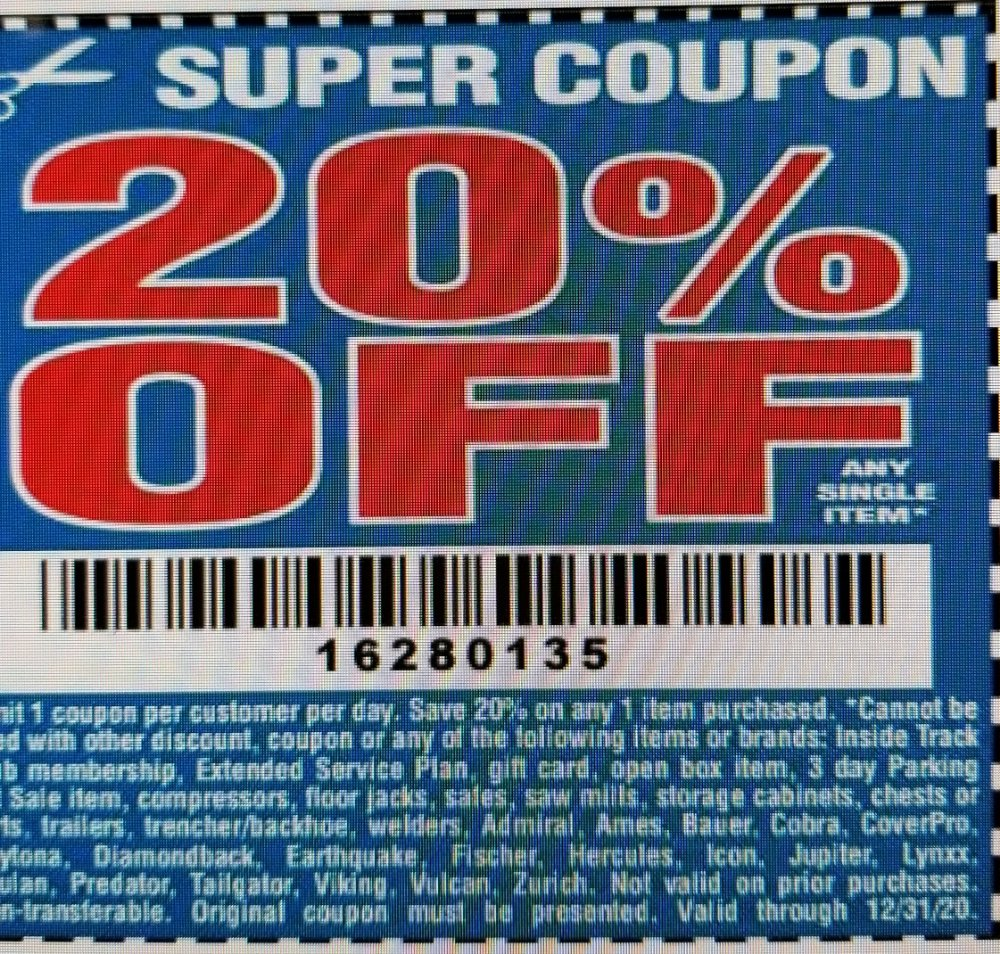 Harbor Freight Coupon, HF Coupons - 20% percent off