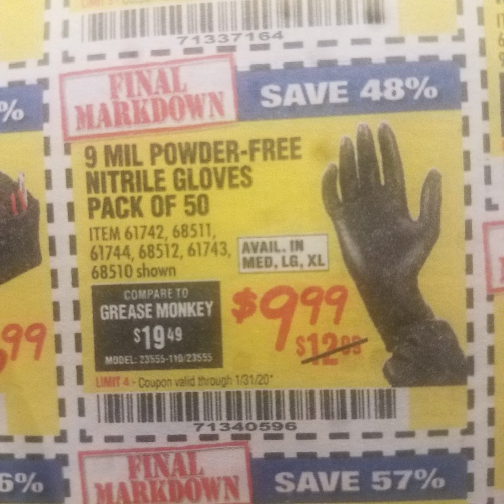 Harbor Freight Coupon, HF Coupons - 9 mil nitrile gloves