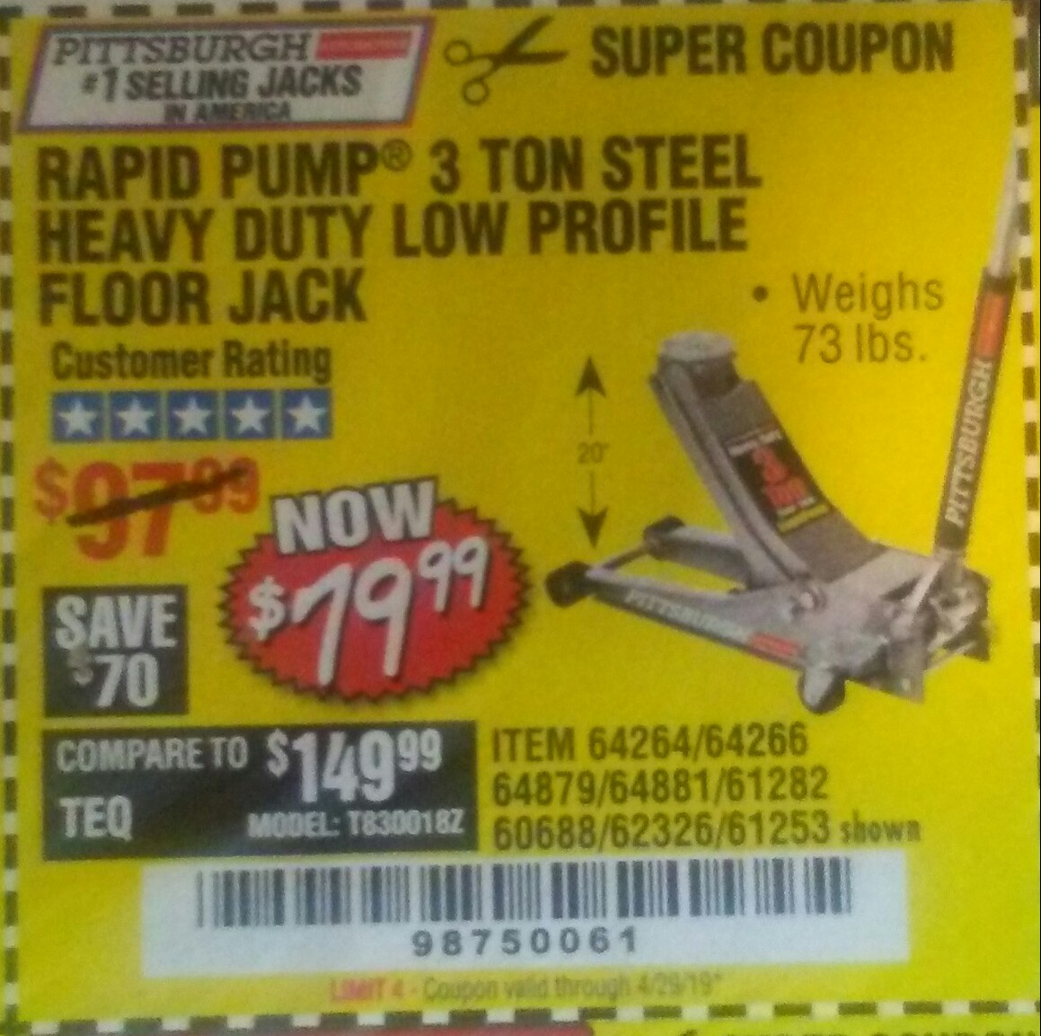 Harbor Freight Coupon, HF Coupons - 3 ton low profile floor Jack