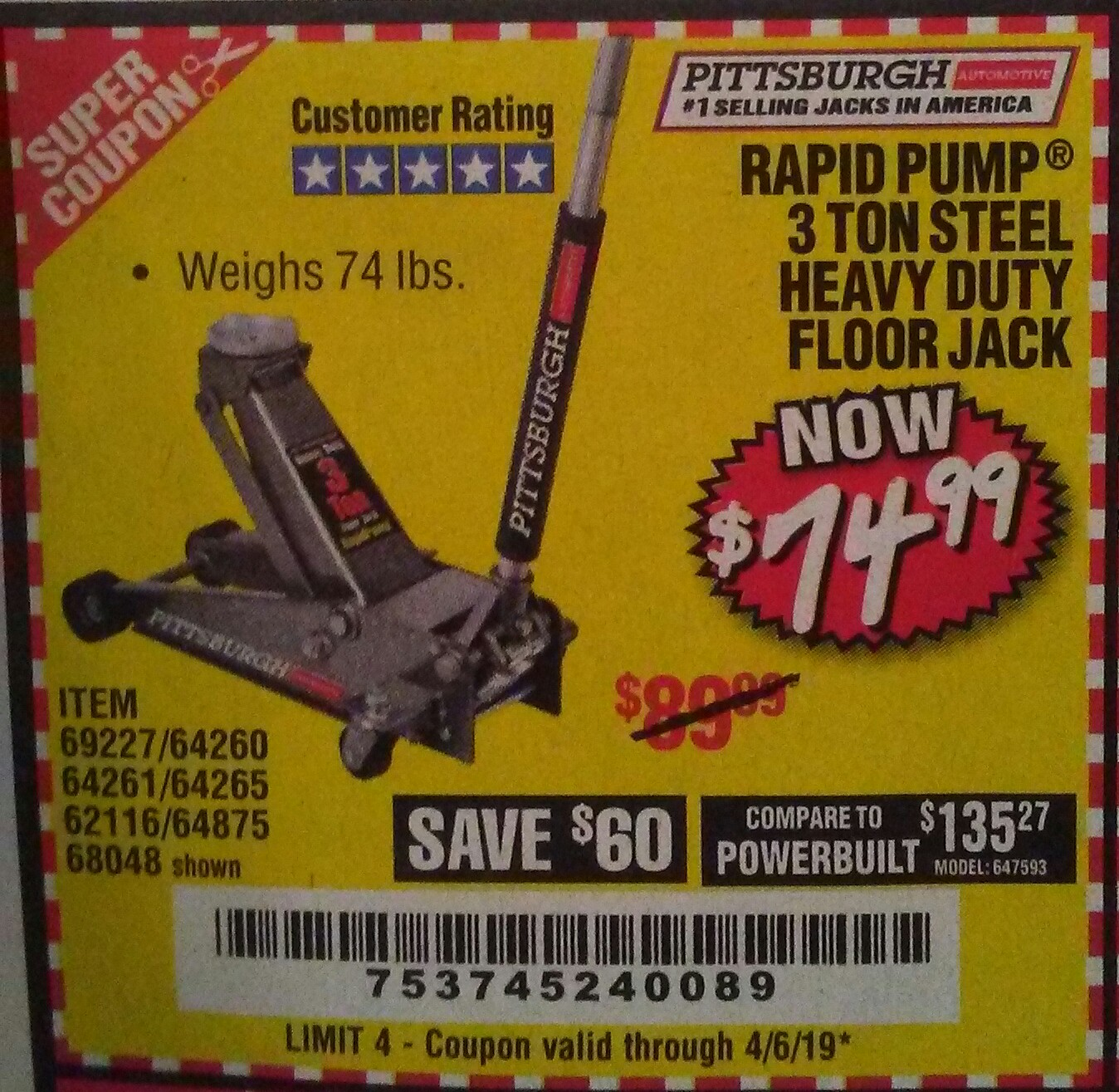 Harbor Freight Coupon, HF Coupons - Rapid pump 3 ton steel floor jack